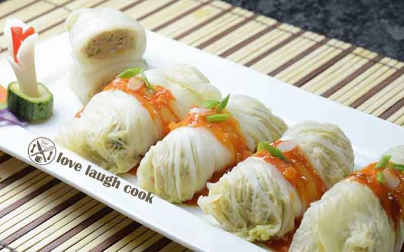 Resep Cemilan Sehat Masa Kini : Roll Cabbage With Chicken and Shrimp ( Kol isi Ayam dan Udang )